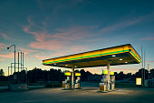 Empty gas station at dusk, Kalmar, Sweden