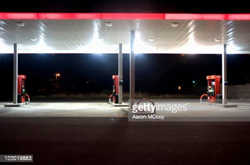 Empty gas station at night, Washington Coast, USA