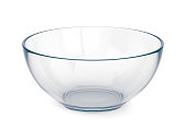 Empty glass bowl isolated on white background. 3D illustration