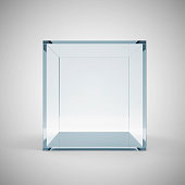 Empty Glass Cube on gradient background