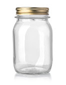 empty glass jar isolated on white with clipping path