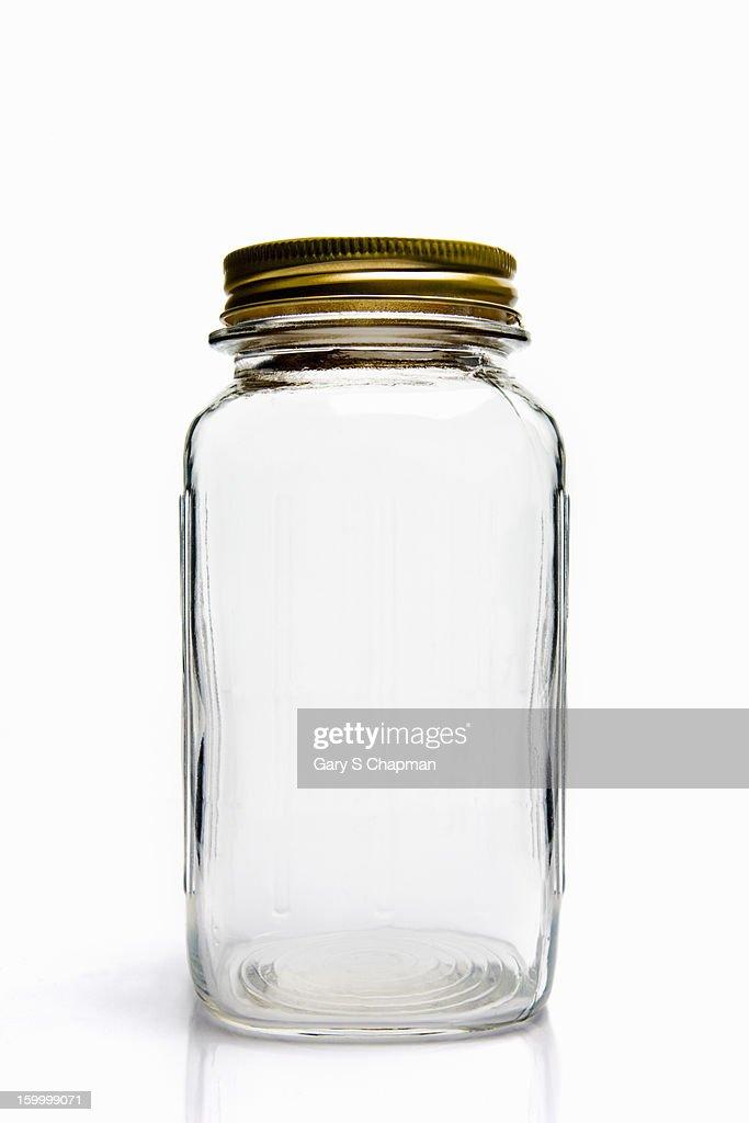 Empty glass mason jar