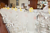 Empty glasses in restaurant ready to served with liquid