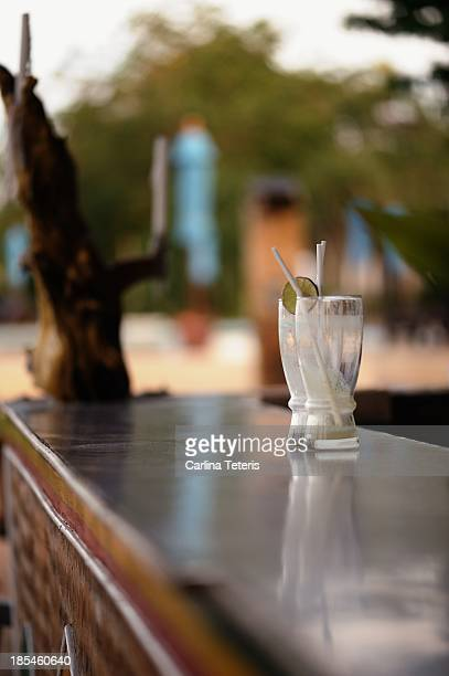 Empty glasses on an outdoor bar