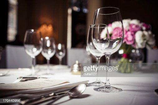 Empty glasses set in restaurant : Stock Photo