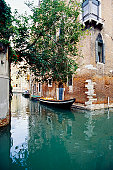 Empty gondola on the canal, Venice, Italy
