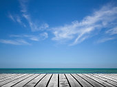 Empty gray wooden pier with sea and cloudy sky on background