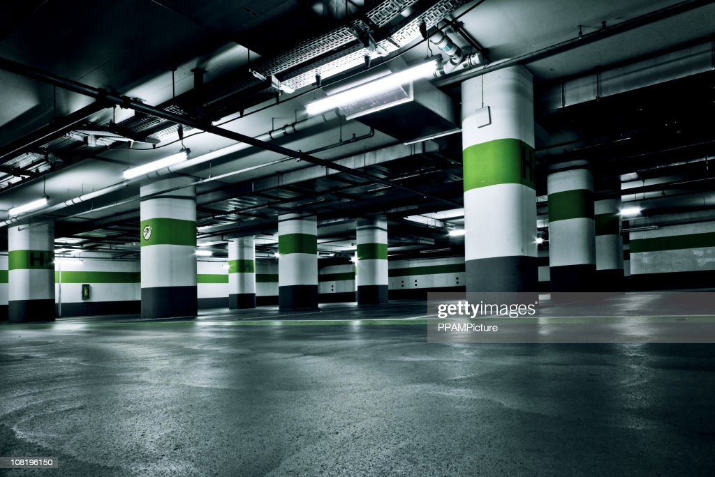 Empty Green Parking Garage : Stock Photo