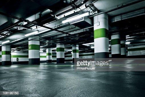 Empty Green Parking Garage