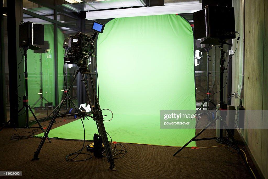 Empty Green Screen Film Set