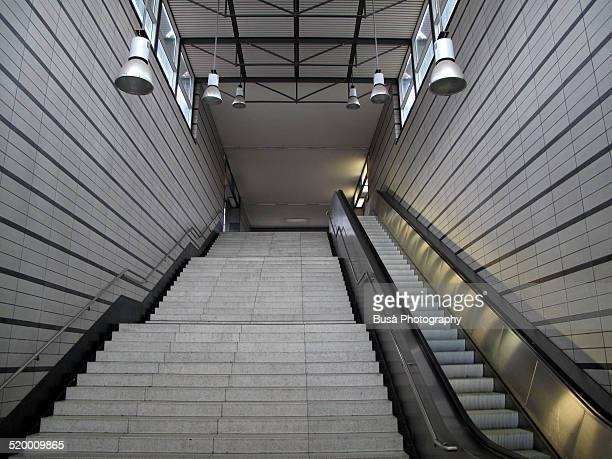 Empty grey staircase in a metro station of Berlin