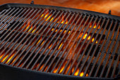 Empty Grill with Flames