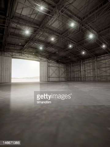 Empty hangar with lights on