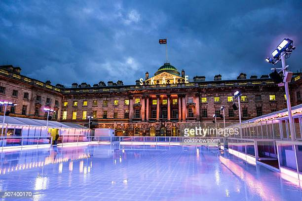 Empty ice skating rink, Somerset House, The Strand, London, UK