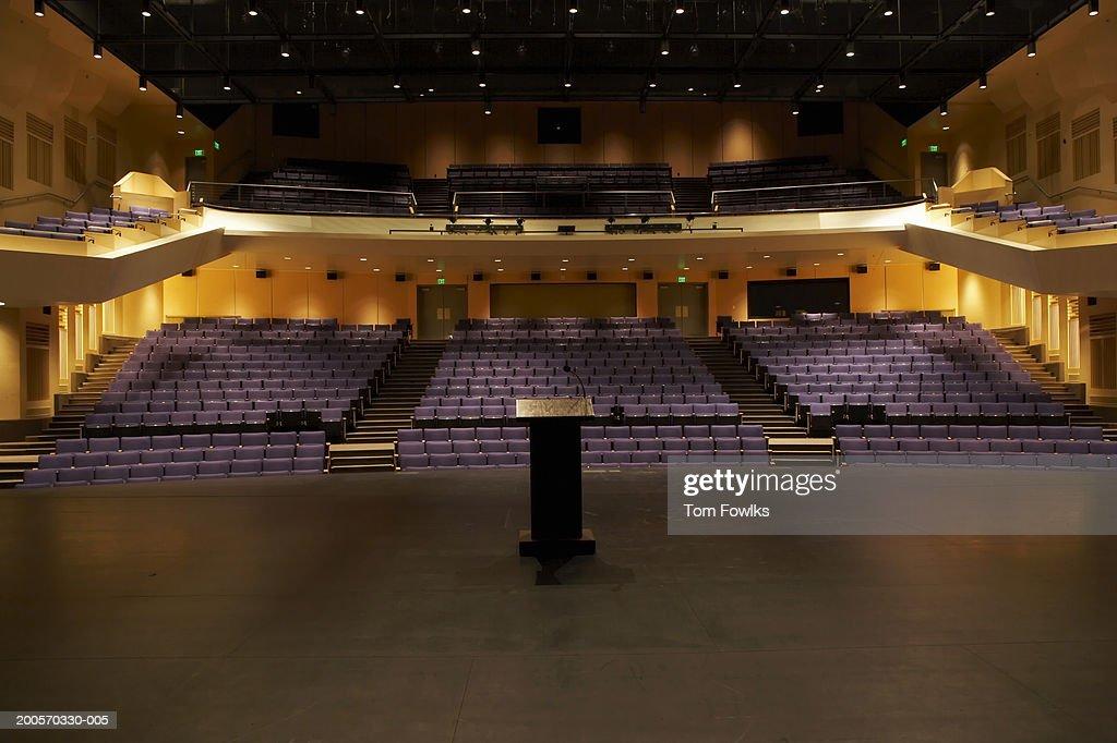 Empty illuminated auditorium : Stock Photo