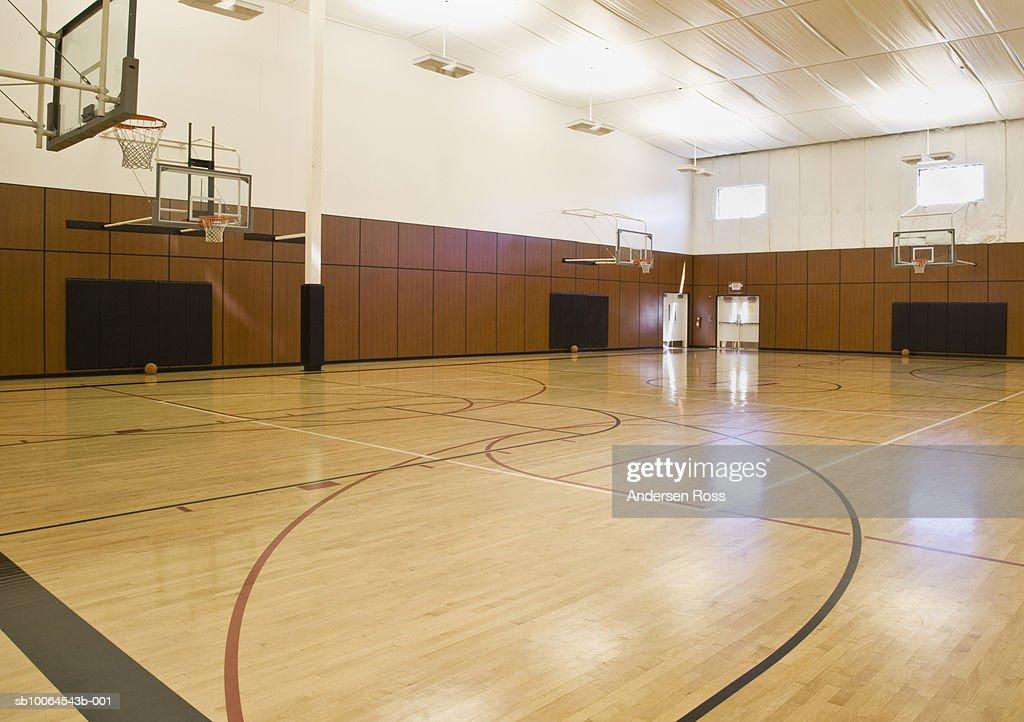 Empty indoor basketball court : Stock Photo