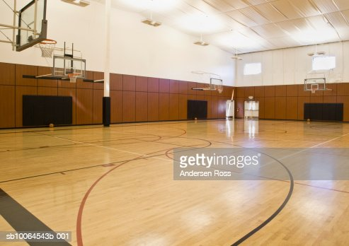 Empty indoor basketball court : Stock Photo