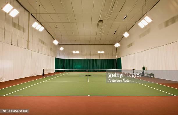 Empty indoor tennis court