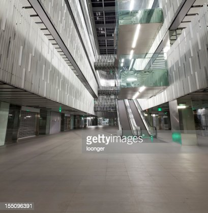 empty interior ground floor of a modern office building stock photo