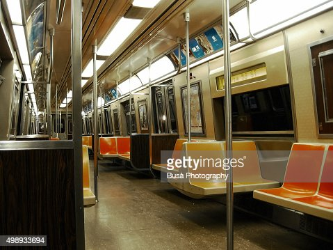 empty interior of new york city subway car stock photo getty images. Black Bedroom Furniture Sets. Home Design Ideas