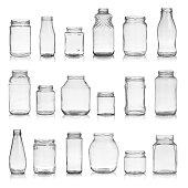 Set of empty jars isolated on white background