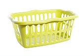 Empty laundry basket on white background