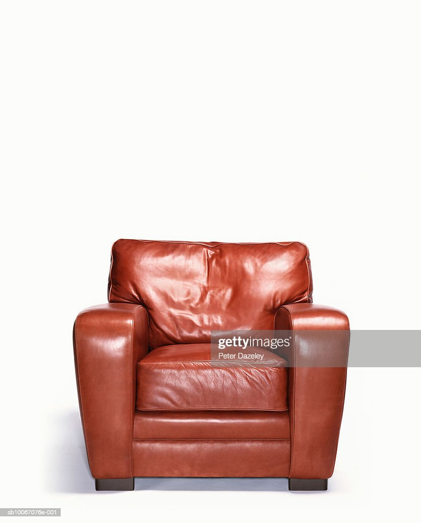 Empty leather armchair : Stock Photo