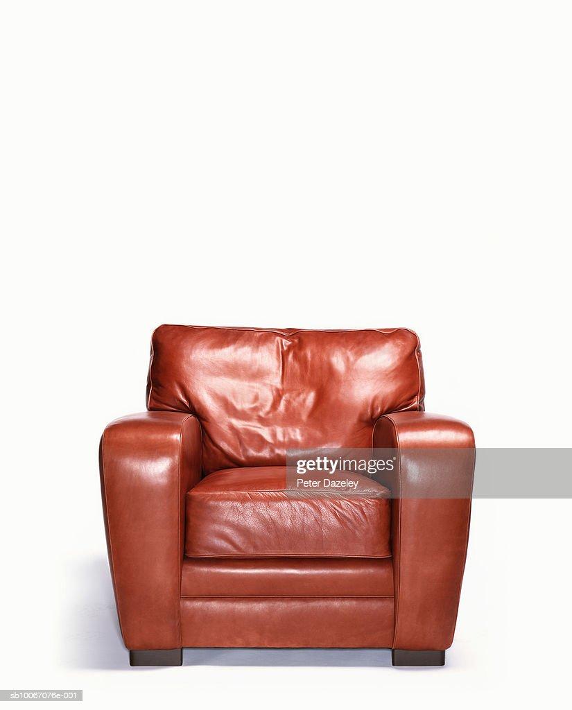 Empty leather armchair
