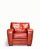 Empty leather armchair