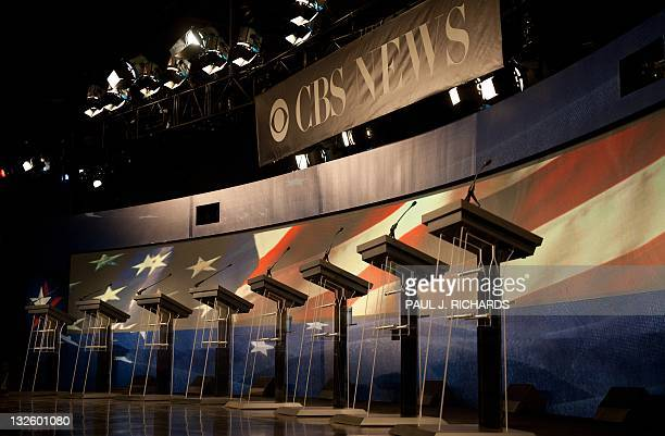 Empty lecterns wait for the arrival of Republician presidential hopefuls Michele Bachmann Herman Cain Newt Gingrich Jon Huntsman Ron Paul Rick Perry...