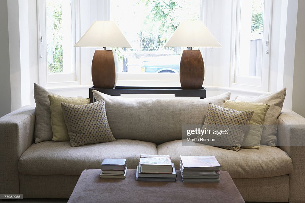 Empty living room with couch and coffee table : Stock Photo