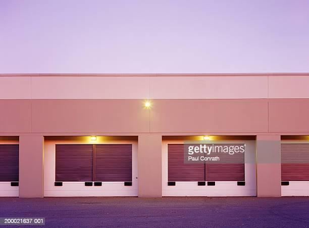 Empty loading docks, dusk