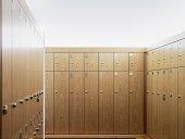 Empty locker room in gym