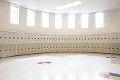 Empty locker room in high school