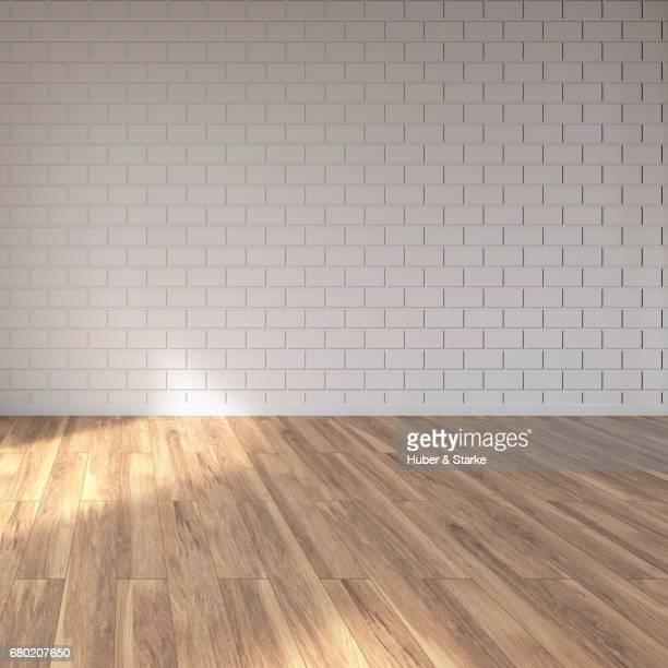 empty loft, wall and wooden floor