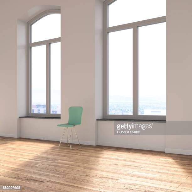 empty loft with chair and view at skyline