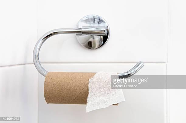 Empty loo roll on holder in bathroom