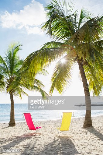 Empty loungers on sandy beach : Stock Photo