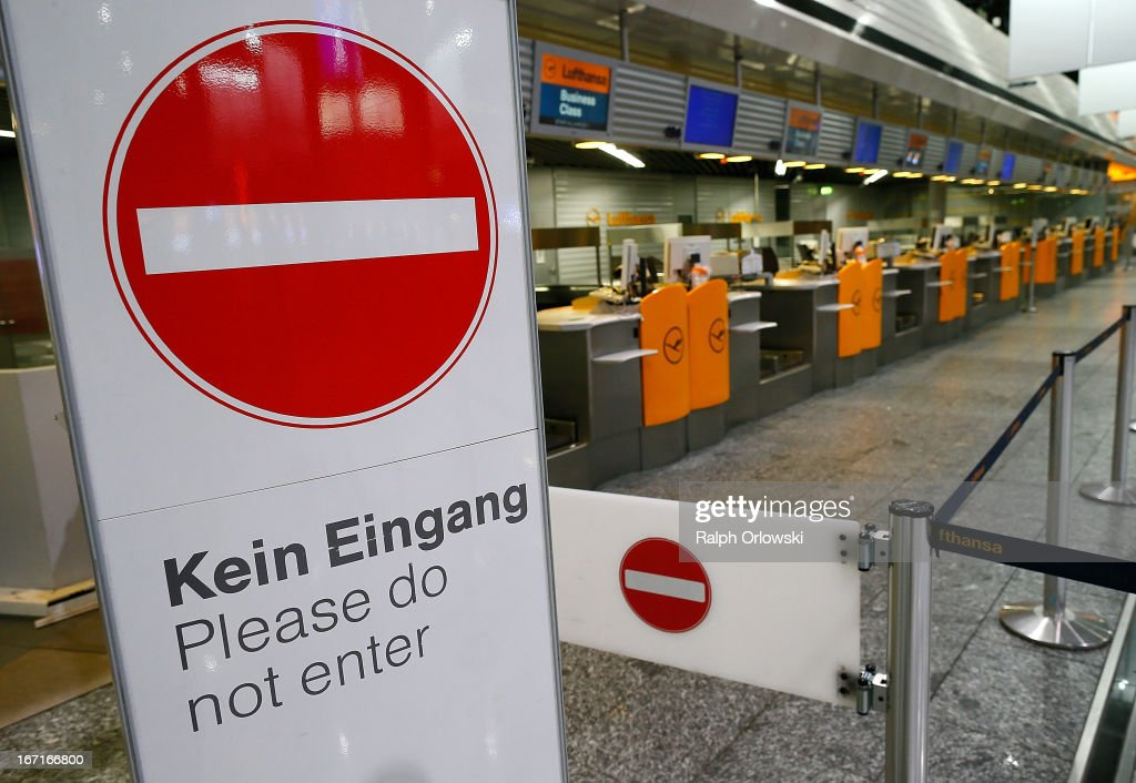 Empty Lufthansa ticket counters are pictured during a nationwide strike by Lufthanda ground, service and maintenance personnel at Frankfurt Airport on April 22, 2013 in Frankfurt, Germany. Workers are demaning pay raises and job guarantees and today's strike has forced Lufthansa to cancel approximately 1700 flights.