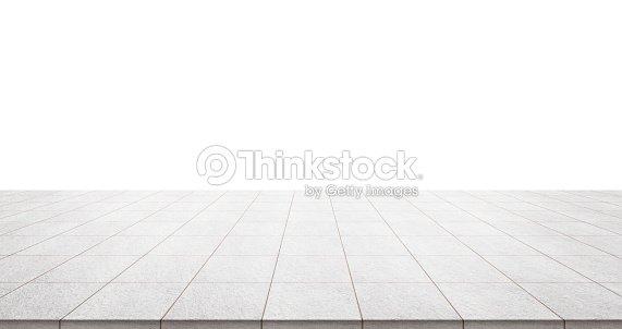 Empty marble floor isolated on white background : Stock Photo