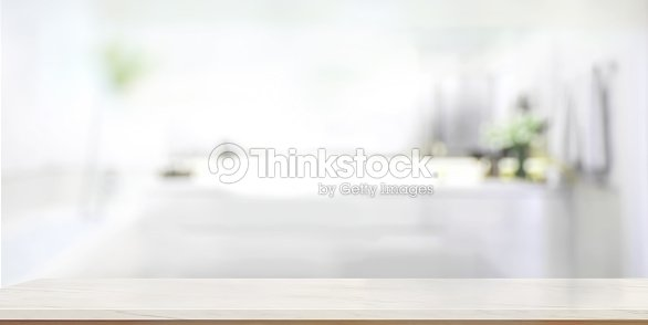 Empty Marble Top Table With Blurred Bathroom Interior Background Stock Photo