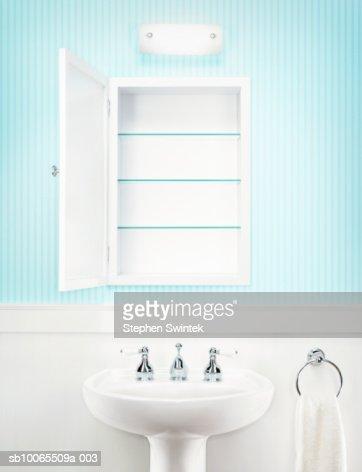 Empty medicine cabinet in residential bathroom