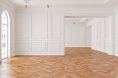 Empty modern classic white interior room. 3d render illustration mock up.