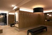 Empty modern clean locker room