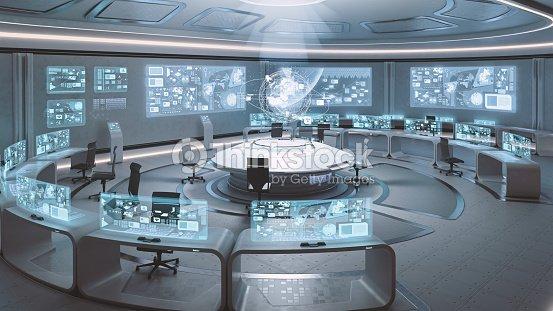 Vac o modernos dise o de interiores futurista centro de comando foto de stock thinkstock Diseno interior futurista