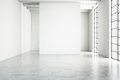 Empty white wall modern interior