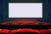 Empty movie cinema seats with blank wide white screen