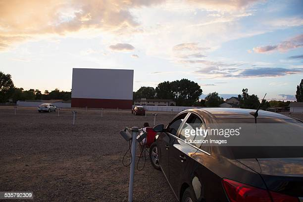 Empty movie screen at sunset Star Drive In Movie Theater Montrose Colorado