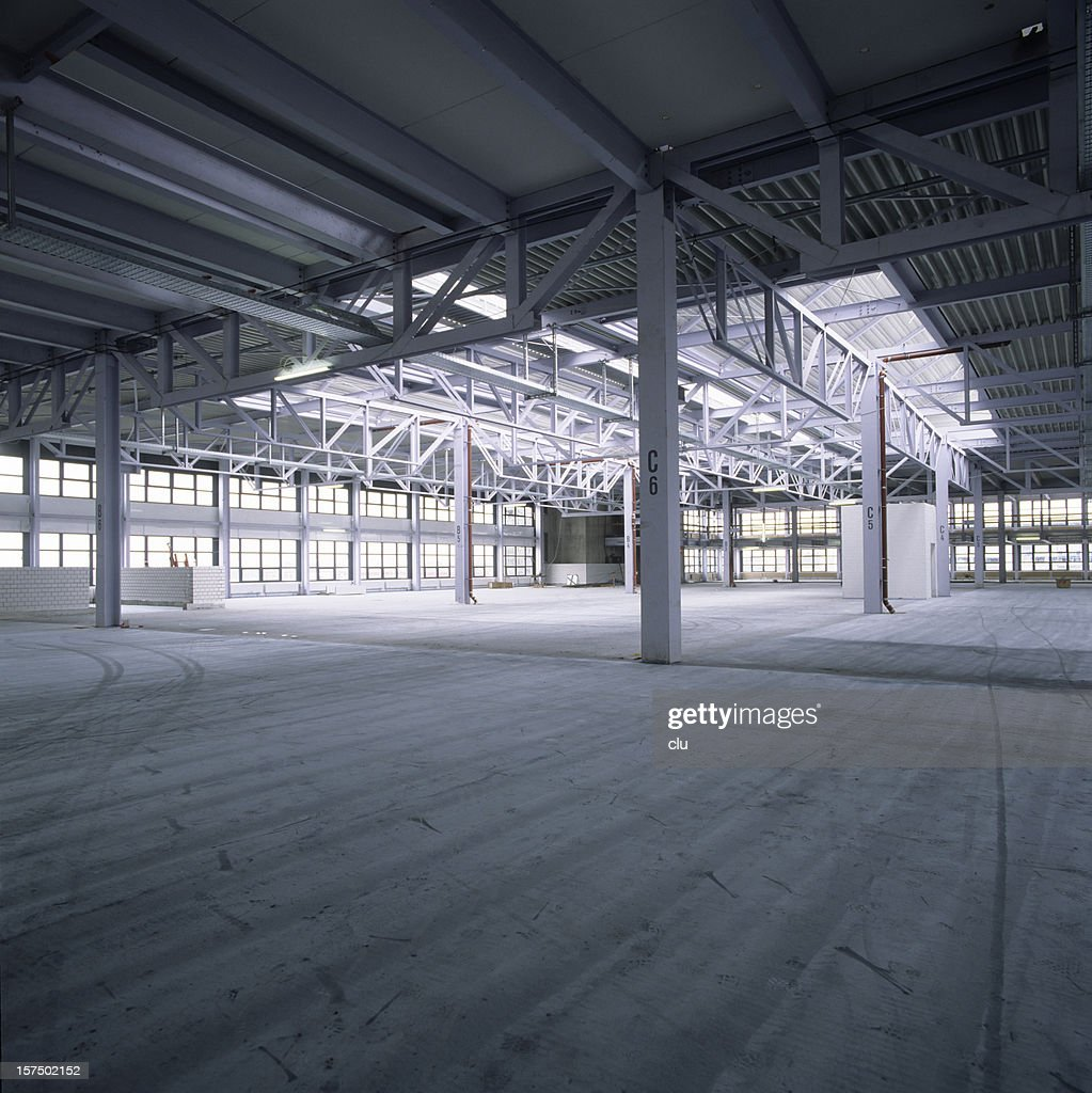 Empty new factory hall