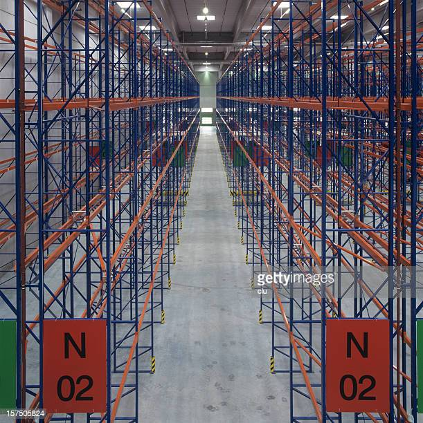 Empty new high rack storage industrial hall